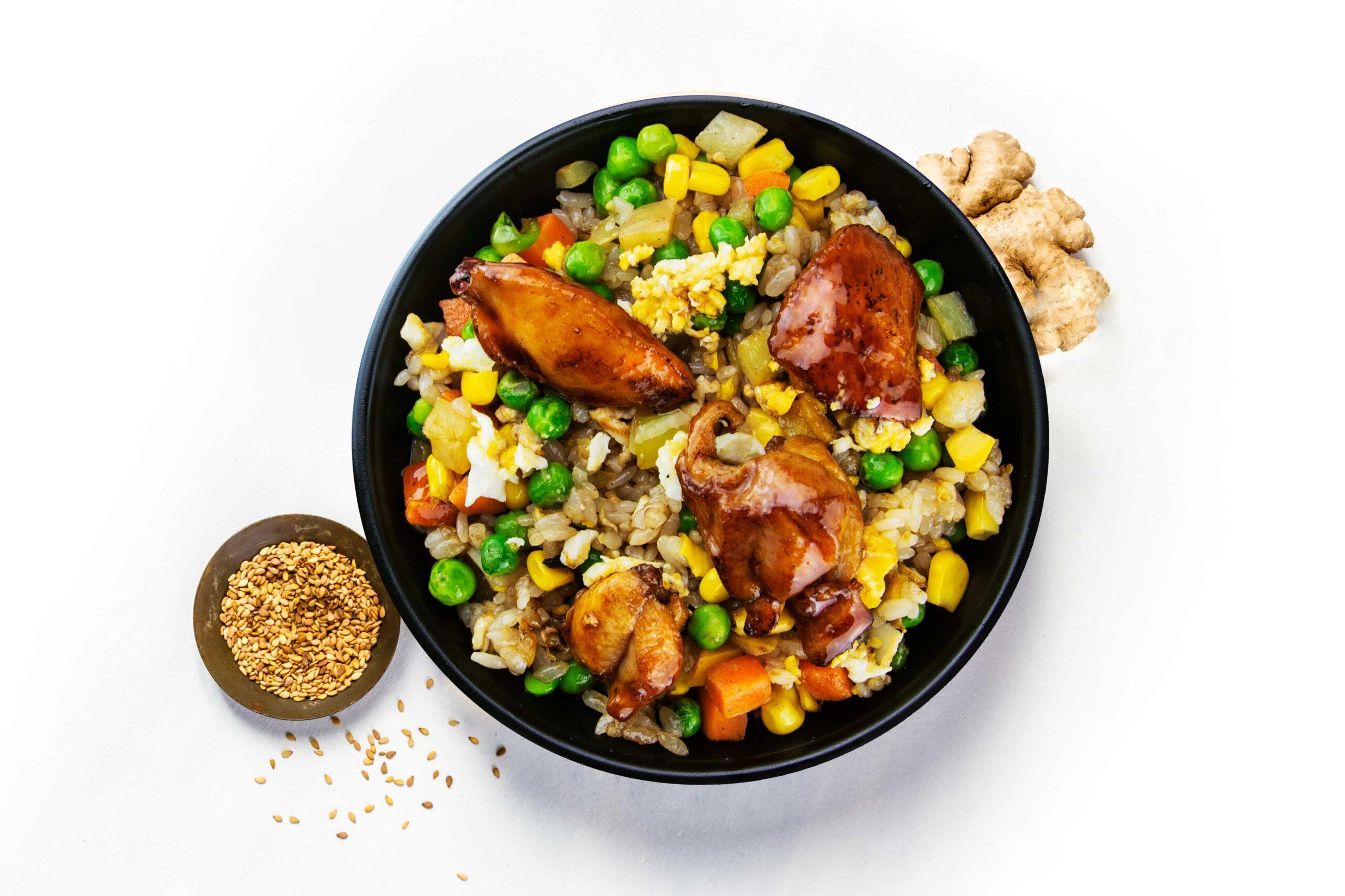 Рецепт жареного риса с курицей