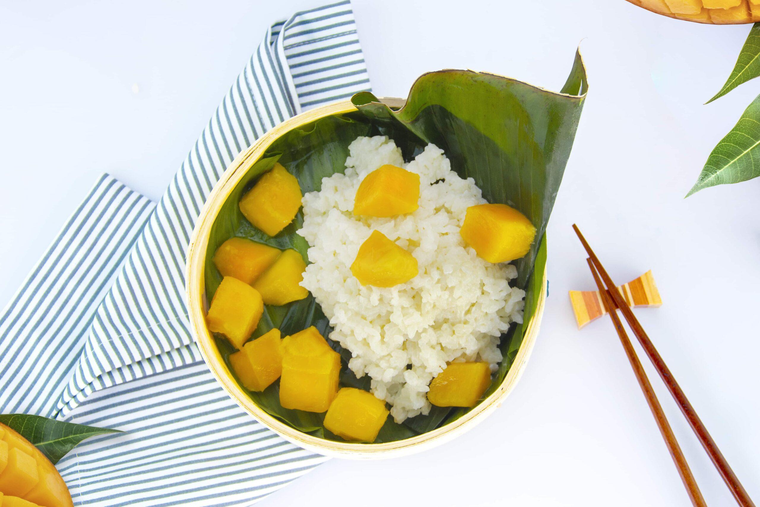 Рецепт риса с кокосовым молоком и манго