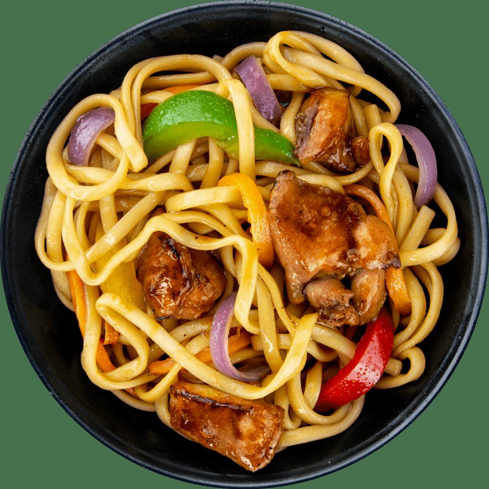 Рецепт лапши с курицей в соусе терияки
