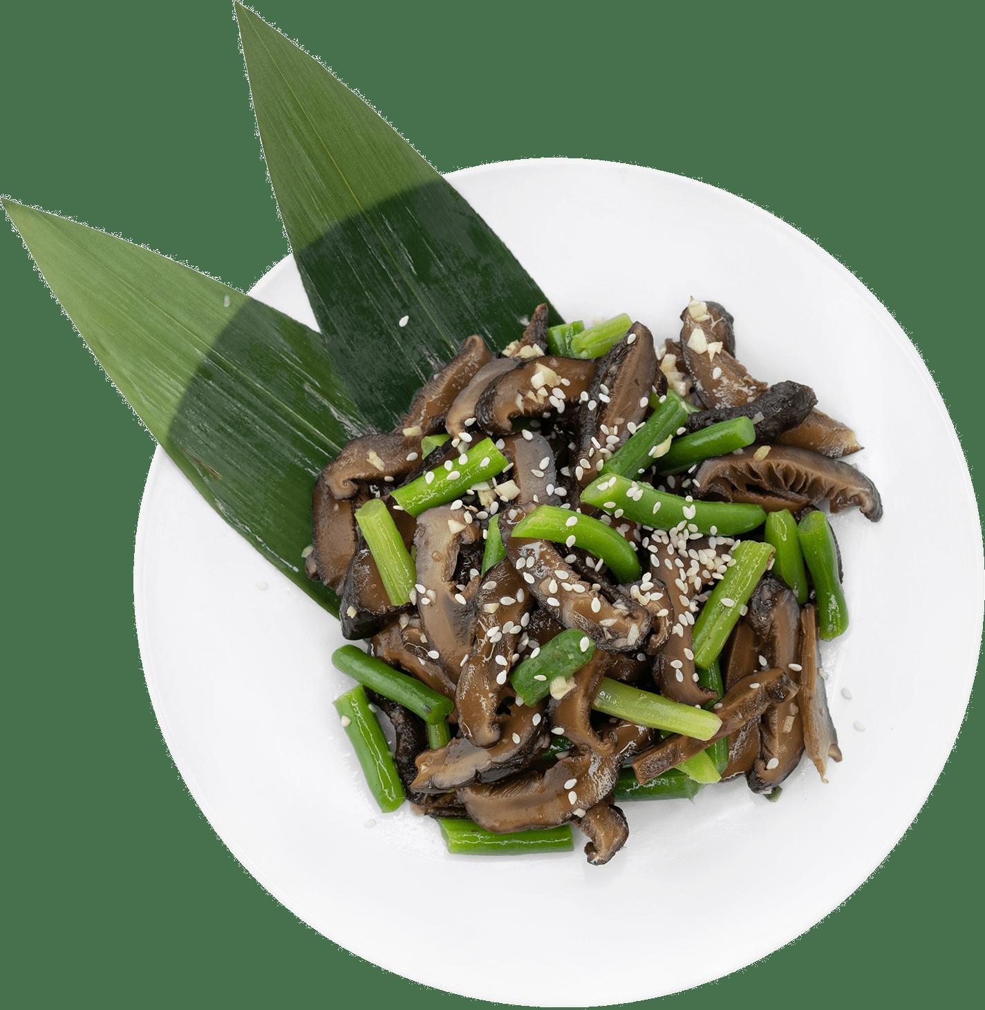 Рецепт салата с шиитаке и спаржей
