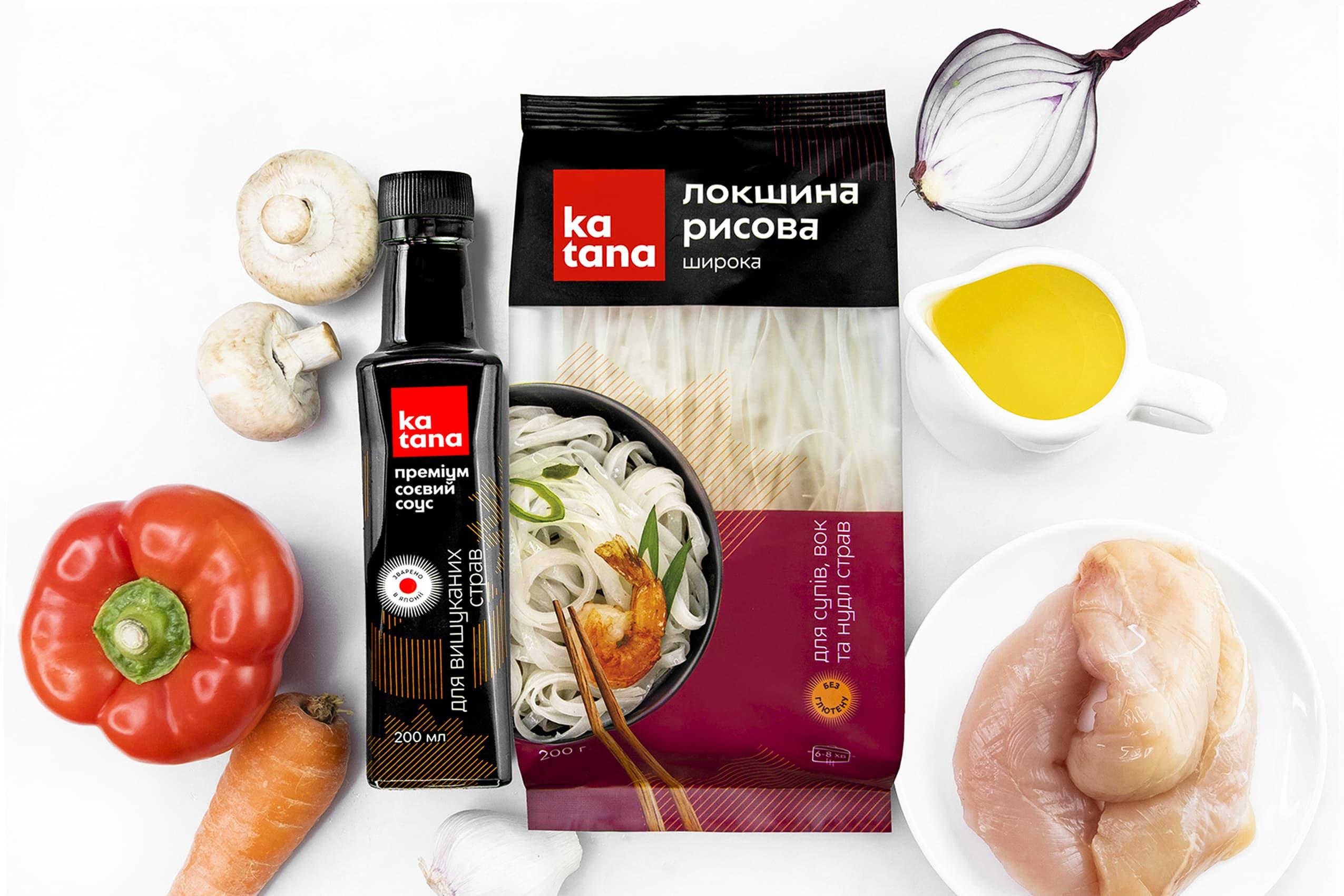 Ингредиенты для рисовой лапши со свининой в соевом соусе