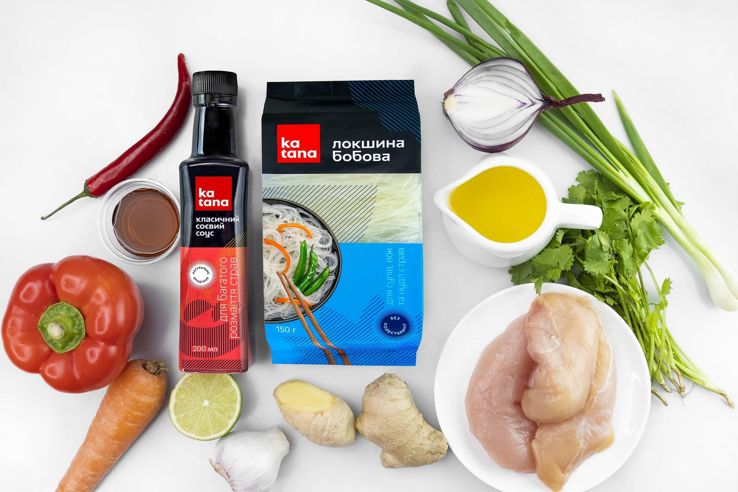 Ингредиенты для сингапурской лапши с курицей