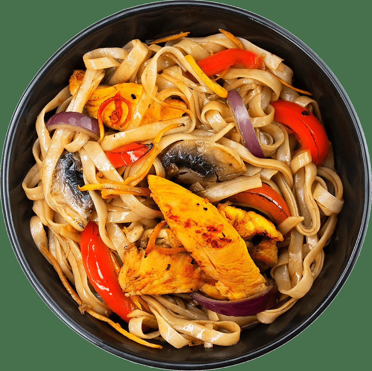 Рецепт рисової локшини з куркою та овочами по-китайськи