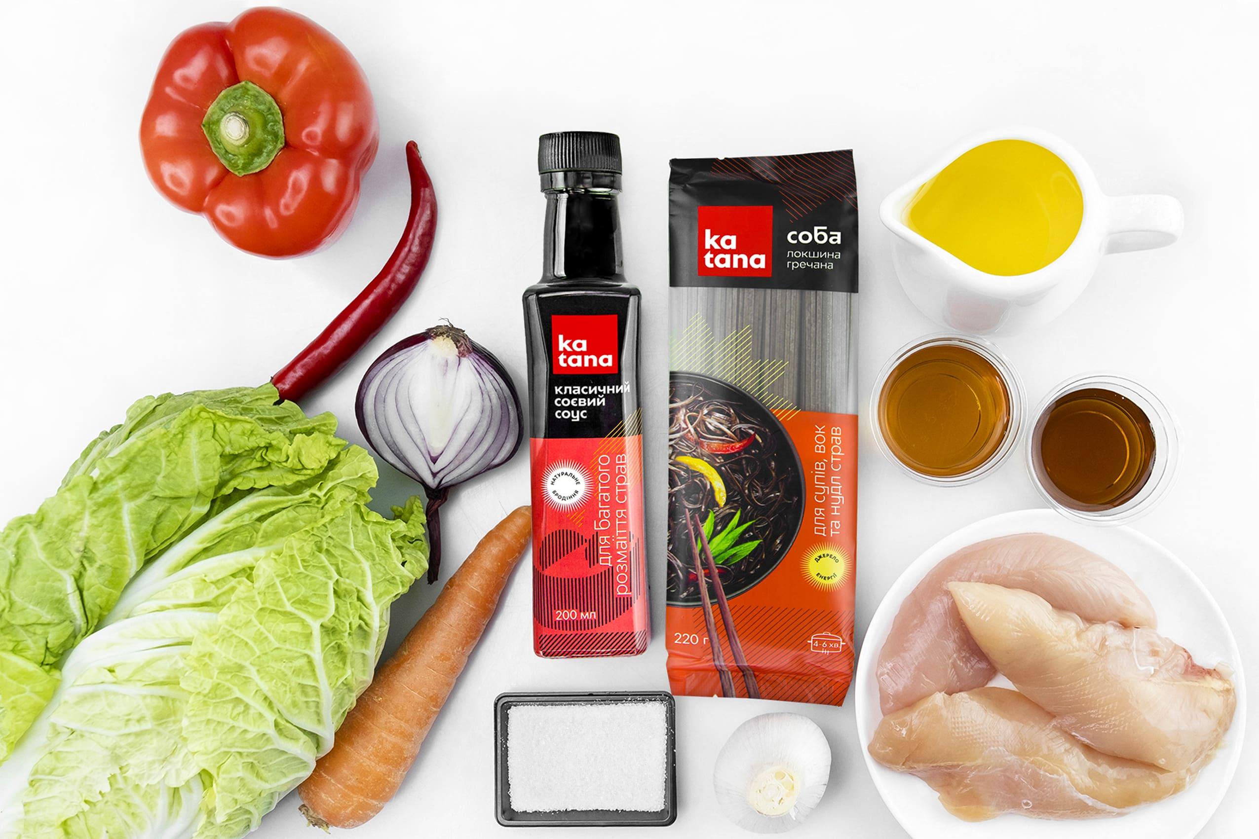 Ингредиенты лапши Якисоба с курицей